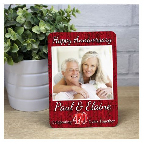 Personalised 40th Ruby Wedding Anniversary Wood Photo Panel Print Gift F37